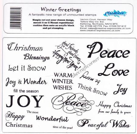 Winter Greetings 17 Unmounted Rubber Stamps